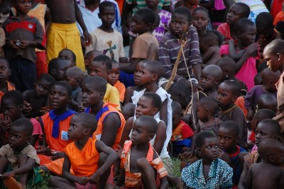 Large group of children from Masese in a crowd